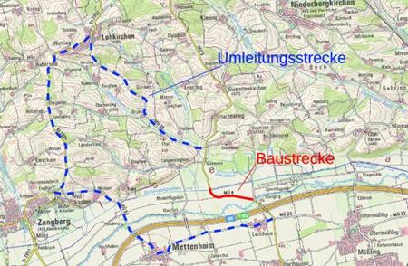 Umleitungsbeschilderung für den Vollausbau MÜ 6 Isenbrücke bis Schandelgrabenbrücke.
